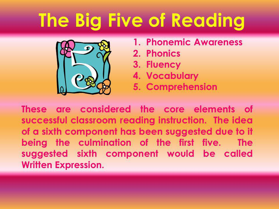 The Big Five of Reading 1. Phonemic Awareness 2. Phonics 3.
