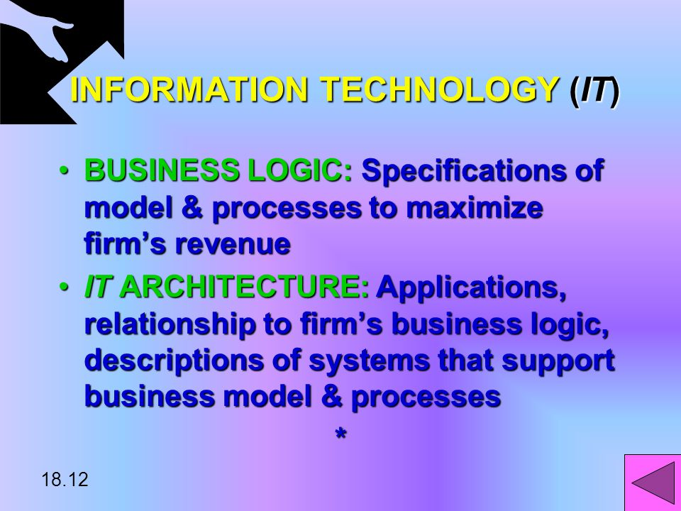 18.11 INFORMATION TECHNOLOGY (IT) INFORMATION TECHNOLOGY (IT) IT INVESTMENT PORTFOLIO: Firm's total capital investment on ITIT INVESTMENT PORTFOLIO: Firm's total capital investment on IT IT INFRASTRUCTURE: List of hardware, software, telecommunications, people related to ITIT INFRASTRUCTURE: List of hardware, software, telecommunications, people related to IT PUBLIC INFRASTRUCTURE: External links to firm's IT infrastructurePUBLIC INFRASTRUCTURE: External links to firm's IT infrastructure*