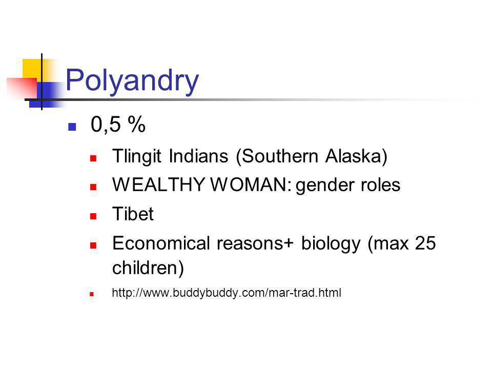 Polyandry 0,5 % Tlingit Indians (Southern Alaska) WEALTHY WOMAN: gender roles Tibet Economical reasons+ biology (max 25 children) http://www.buddybuddy.com/mar-trad.html