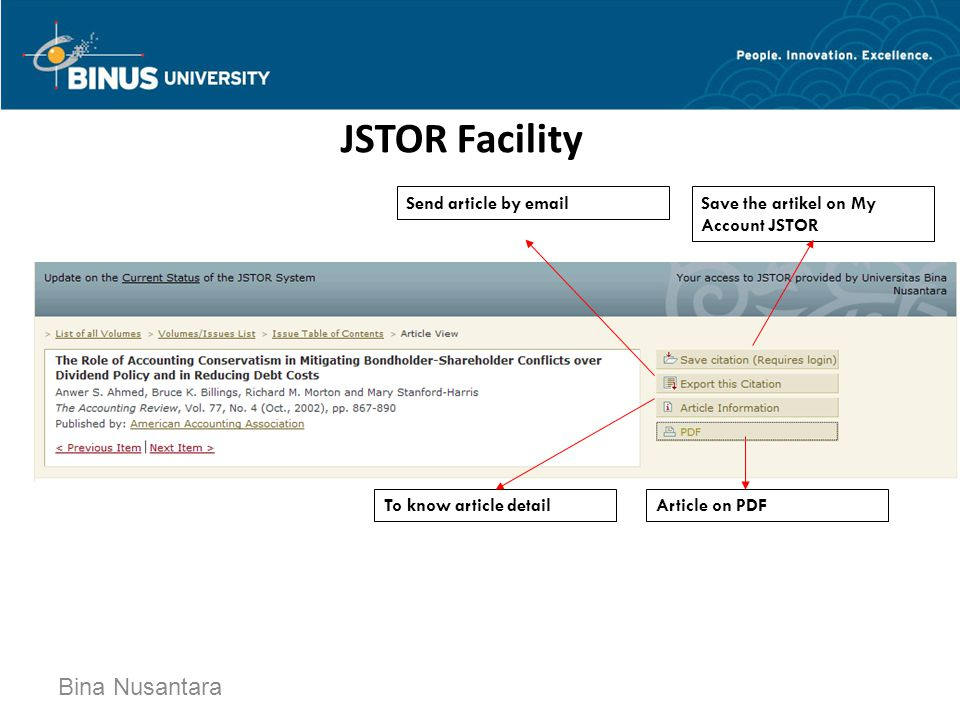 JSTOR Facility Bina Nusantara Save the artikel on My Account JSTOR Send article by email To know article detailArticle on PDF
