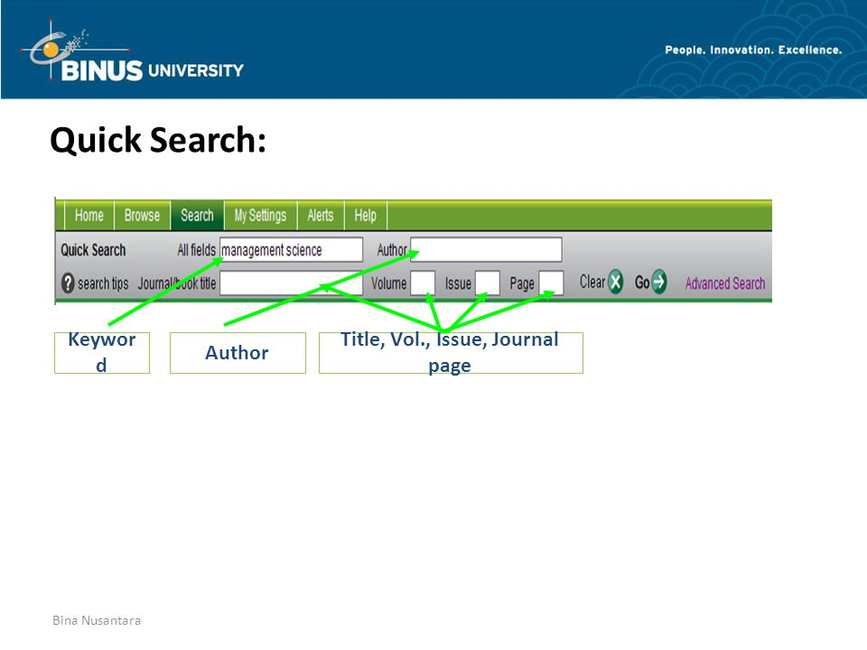 Bina Nusantara Quick Search: Keywor d Author Title, Vol., Issue, Journal page