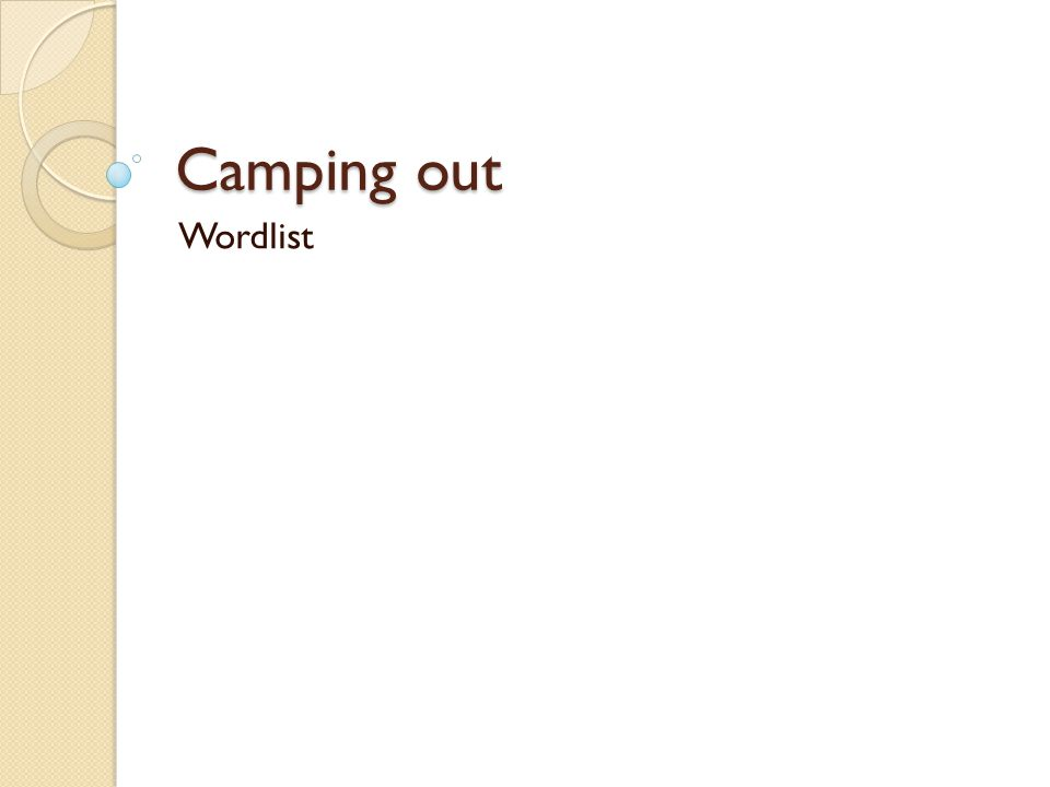 Camping out Wordlist