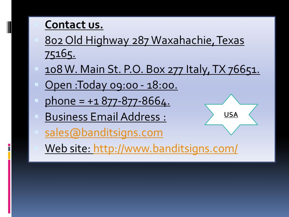  Contact us.  802 Old Highway 287 Waxahachie, Texas 75165.