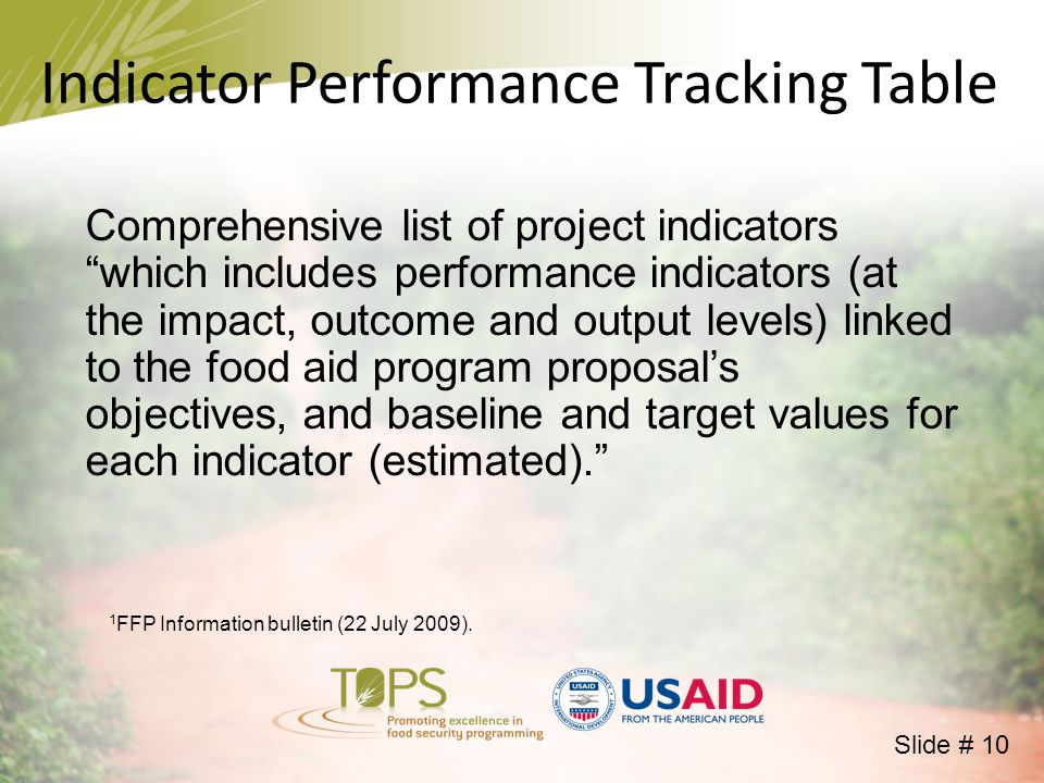 Indicator Performance Tracking Table Comprehensive list of project indicators which includes performance indicators (at the impact, outcome and output levels) linked to the food aid program proposal's objectives, and baseline and target values for each indicator (estimated). 1 FFP Information bulletin (22 July 2009).