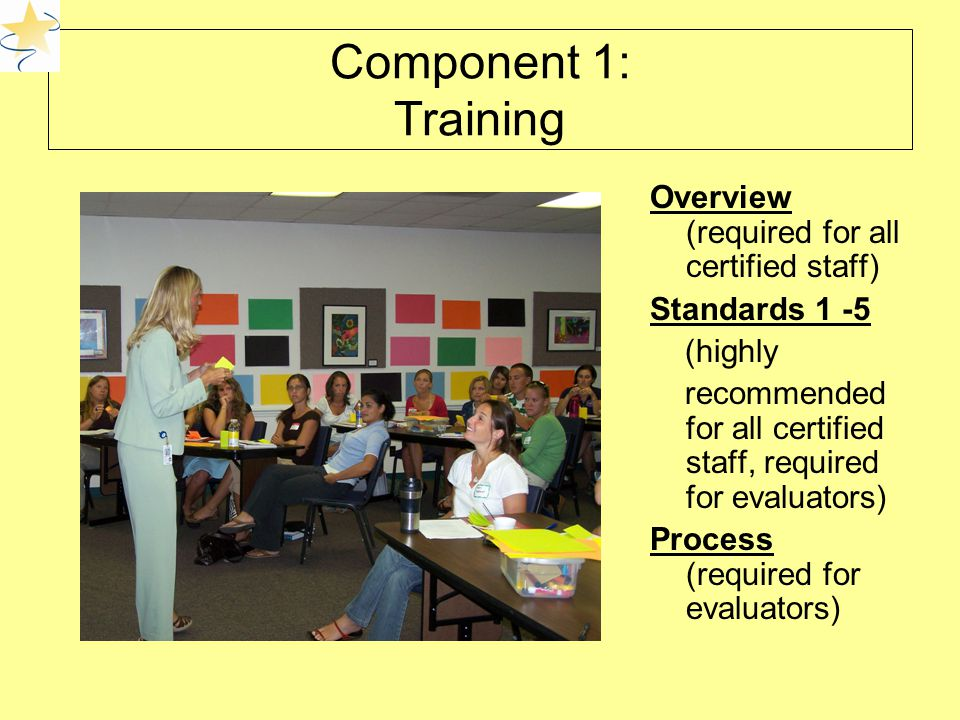 Component 1: Training Overview (required for all certified staff) Standards 1 -5 (highly recommended for all certified staff, required for evaluators) Process (required for evaluators)