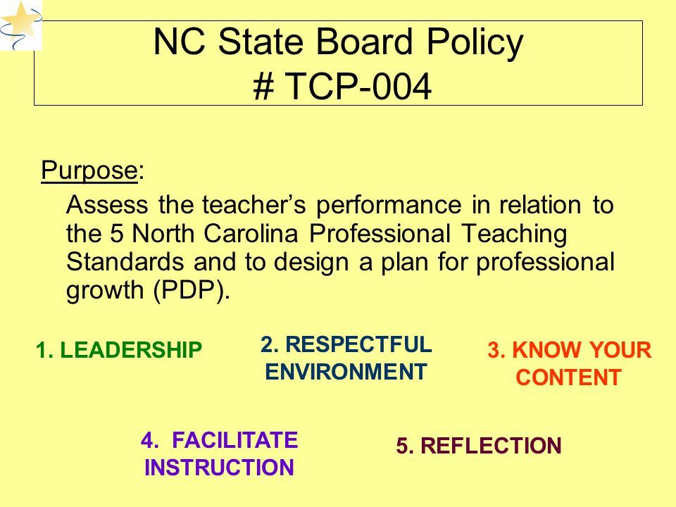 NC State Board Policy # TCP-004 Purpose: Assess the teacher's performance in relation to the 5 North Carolina Professional Teaching Standards and to design a plan for professional growth (PDP).
