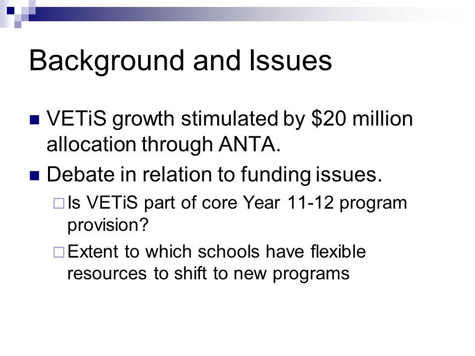 Background and Issues VETiS growth stimulated by $20 million allocation through ANTA.