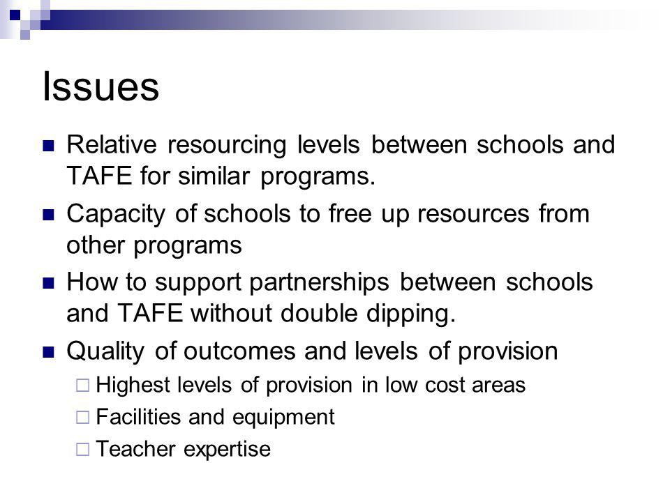 Issues Relative resourcing levels between schools and TAFE for similar programs.