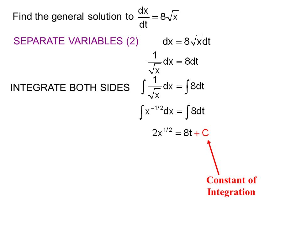 Find the general solution to SEPARATE VARIABLES (2) INTEGRATE BOTH SIDES Constant of Integration