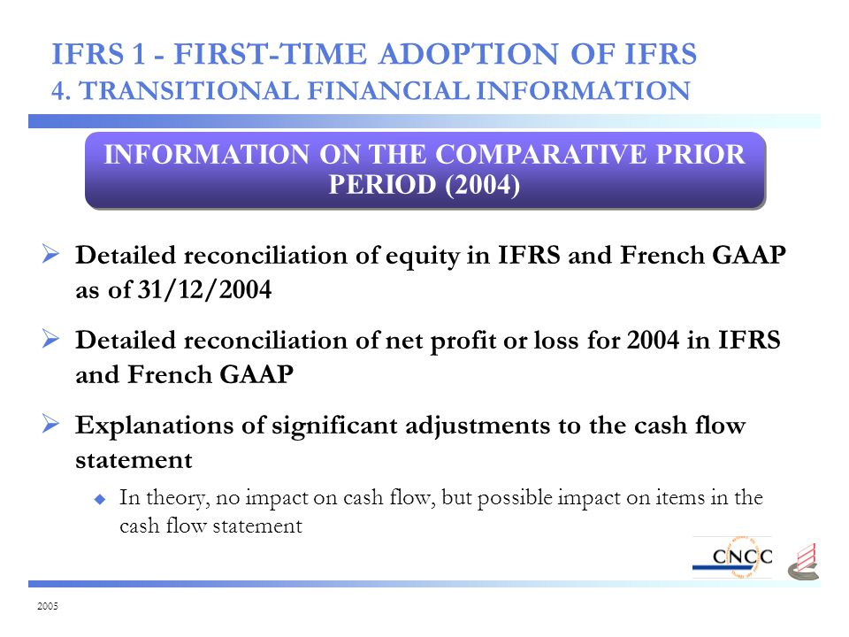 2005  Detailed reconciliation of equity in IFRS and French GAAP as of 31/12/2004  Detailed reconciliation of net profit or loss for 2004 in IFRS and French GAAP  Explanations of significant adjustments to the cash flow statement  In theory, no impact on cash flow, but possible impact on items in the cash flow statement INFORMATION ON THE COMPARATIVE PRIOR PERIOD (2004) IFRS 1 - FIRST-TIME ADOPTION OF IFRS 4.