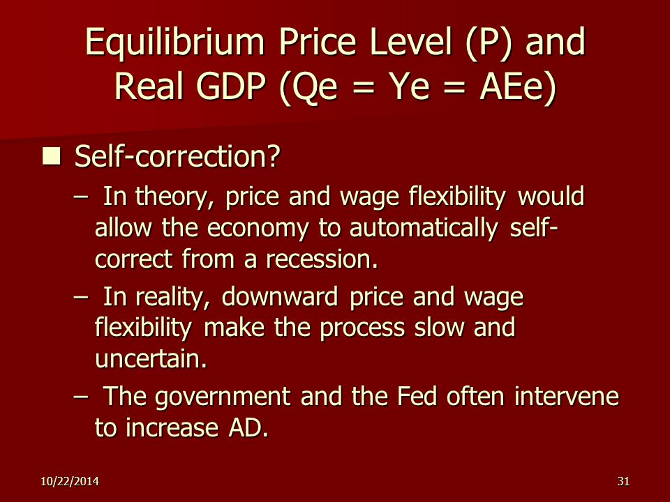 10/22/ Equilibrium Price Level (P) and Real GDP (Qe = Ye = AEe) Self-correction.