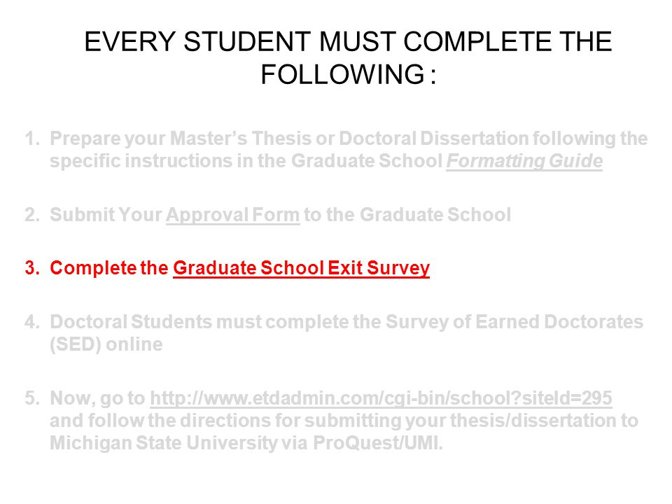 Special Project/Thesis/Dissertation Guide: School Of Graduate Studies