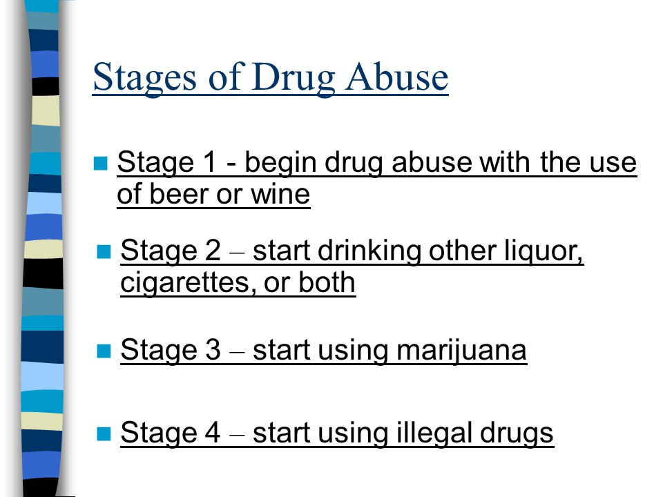 Stages of Drug Abuse Stage 1 - begin drug abuse with the use of beer or wine Stage 2 – start drinking other liquor, cigarettes, or both Stage 3 – start using marijuana Stage 4 – start using illegal drugs