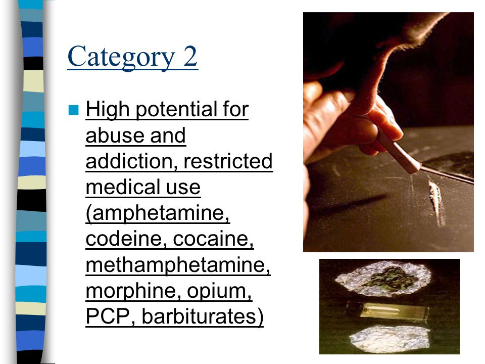 Category 2 High potential for abuse and addiction, restricted medical use (amphetamine, codeine, cocaine, methamphetamine, morphine, opium, PCP, barbiturates)
