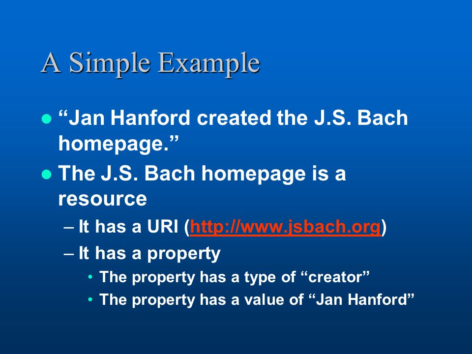 A Simple Example Jan Hanford created the J.S. Bach homepage. The J.S.