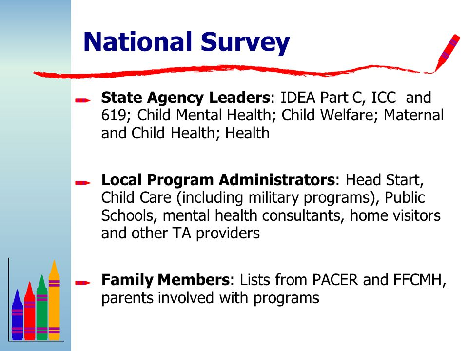 State Agency Leaders: IDEA Part C, ICC and 619; Child Mental Health; Child Welfare; Maternal and Child Health; Health Local Program Administrators: Head Start, Child Care (including military programs), Public Schools, mental health consultants, home visitors and other TA providers Family Members: Lists from PACER and FFCMH, parents involved with programs National Survey