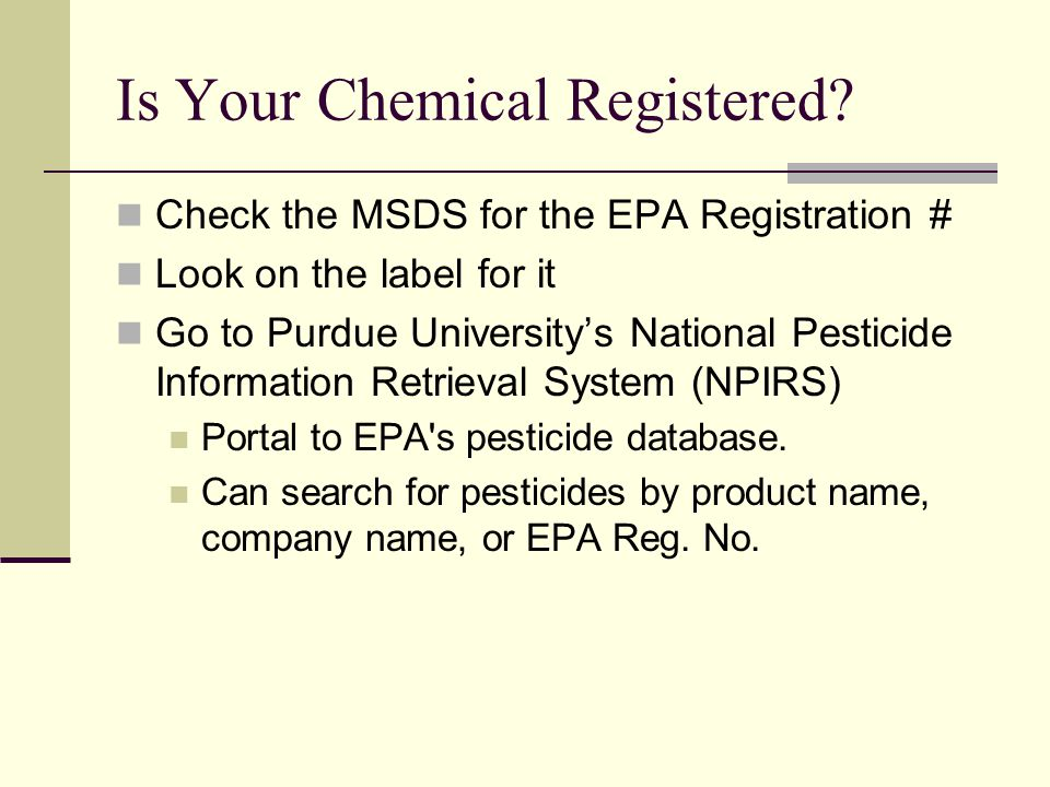 Is Your Chemical Registered.