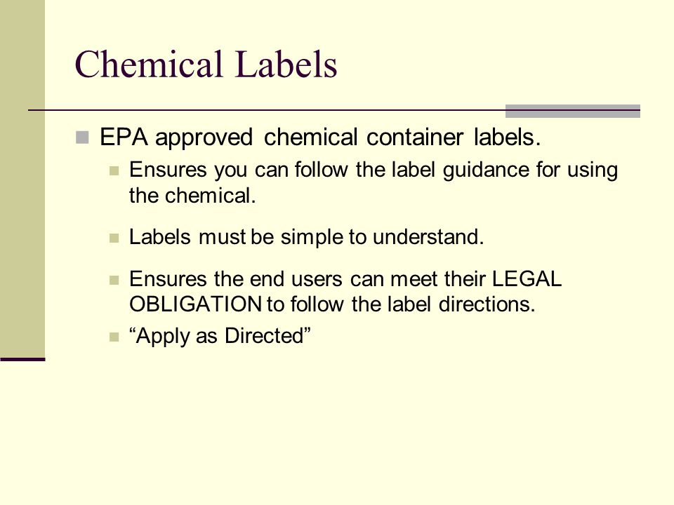 Chemical Labels EPA approved chemical container labels.