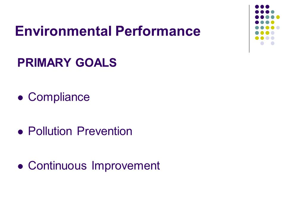 Environmental Performance PRIMARY GOALS Compliance Pollution Prevention Continuous Improvement
