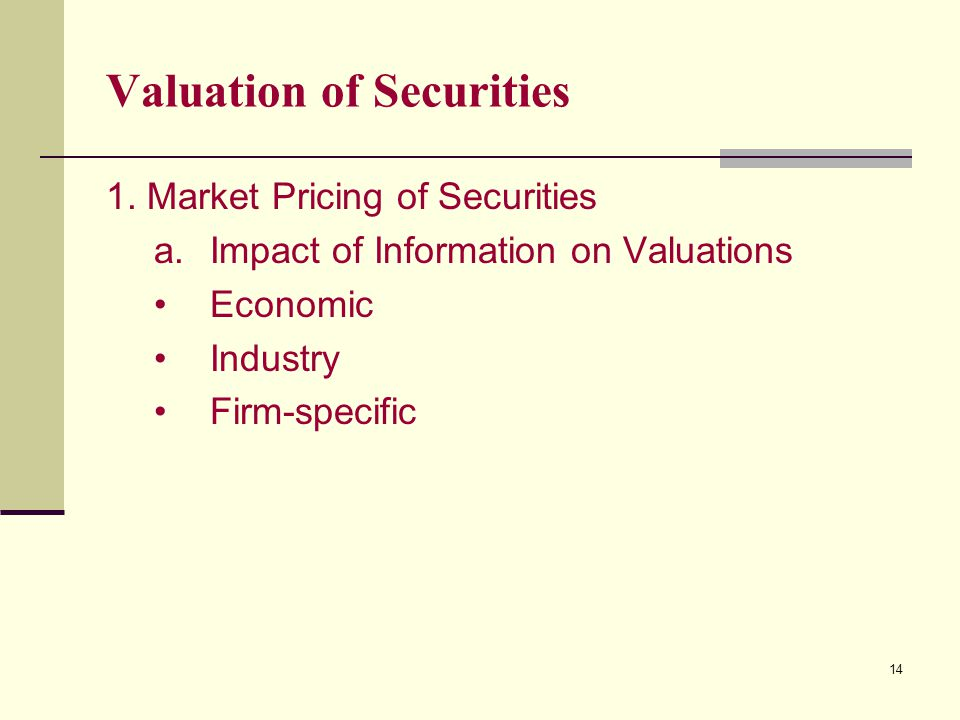 14 Valuation of Securities 1.