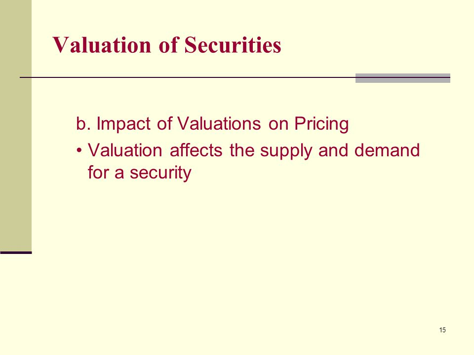 15 Valuation of Securities b.