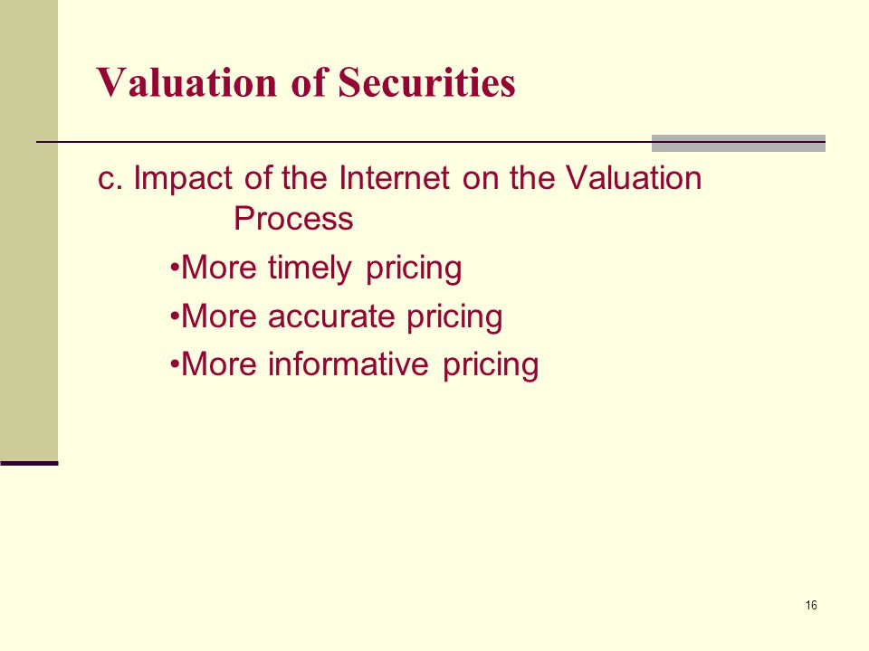 16 Valuation of Securities c.