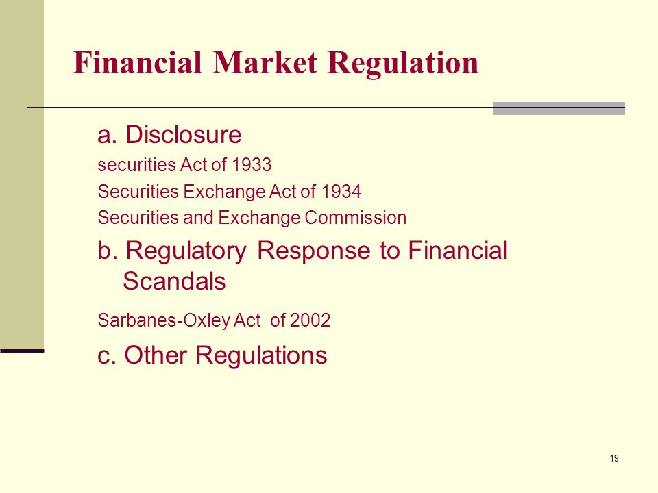 19 Financial Market Regulation a.