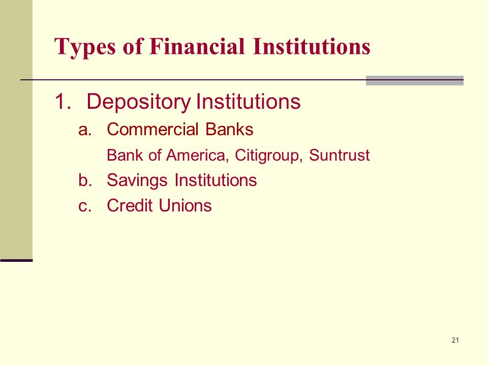 21 Types of Financial Institutions 1.Depository Institutions a.Commercial Banks Bank of America, Citigroup, Suntrust b.Savings Institutions c.Credit Unions