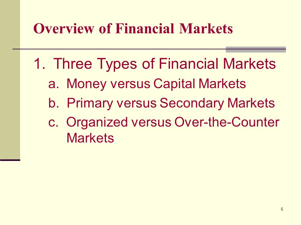 6 Overview of Financial Markets 1.Three Types of Financial Markets a.Money versus Capital Markets b.