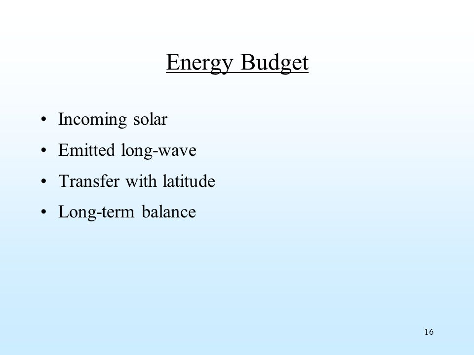 16 Energy Budget Incoming solar Emitted long-wave Transfer with latitude Long-term balance