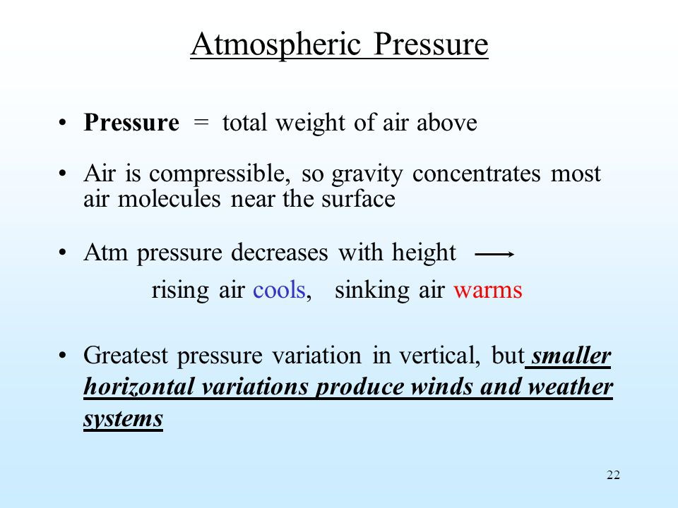 22 Atmospheric Pressure Pressure = total weight of air above Air is compressible, so gravity concentrates most air molecules near the surface Atm pressure decreases with height rising air cools, sinking air warms Greatest pressure variation in vertical, but smaller horizontal variations produce winds and weather systems