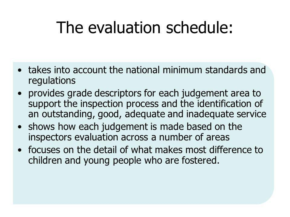 The evaluation schedule: takes into account the national minimum standards and regulations provides grade descriptors for each judgement area to support the inspection process and the identification of an outstanding, good, adequate and inadequate service shows how each judgement is made based on the inspectors evaluation across a number of areas focuses on the detail of what makes most difference to children and young people who are fostered.