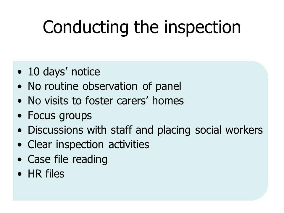 Conducting the inspection 10 days' notice No routine observation of panel No visits to foster carers' homes Focus groups Discussions with staff and placing social workers Clear inspection activities Case file reading HR files