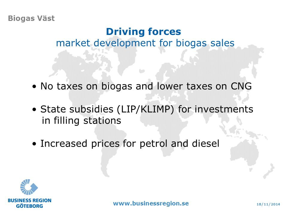 18/11/ Biogas Väst Driving forces market development for biogas sales No taxes on biogas and lower taxes on CNG State subsidies (LIP/KLIMP) for investments in filling stations Increased prices for petrol and diesel