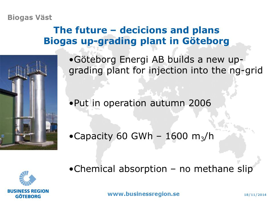 18/11/ Biogas Väst The future – decicions and plans Biogas up-grading plant in Göteborg Göteborg Energi AB builds a new up- grading plant for injection into the ng-grid Put in operation autumn 2006 Capacity 60 GWh – 1600 m 3 /h Chemical absorption – no methane slip