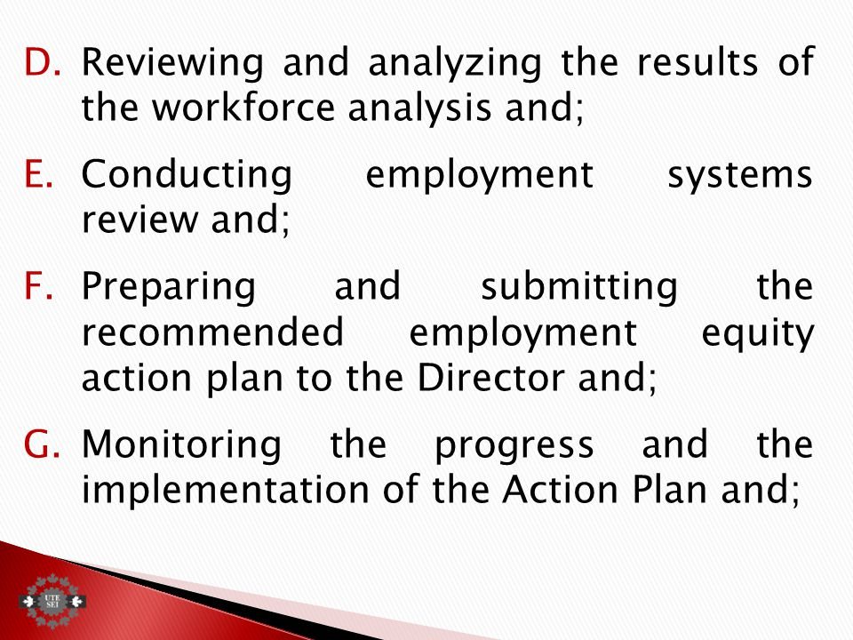 D.Reviewing and analyzing the results of the workforce analysis and; E.Conducting employment systems review and; F.Preparing and submitting the recommended employment equity action plan to the Director and; G.Monitoring the progress and the implementation of the Action Plan and;
