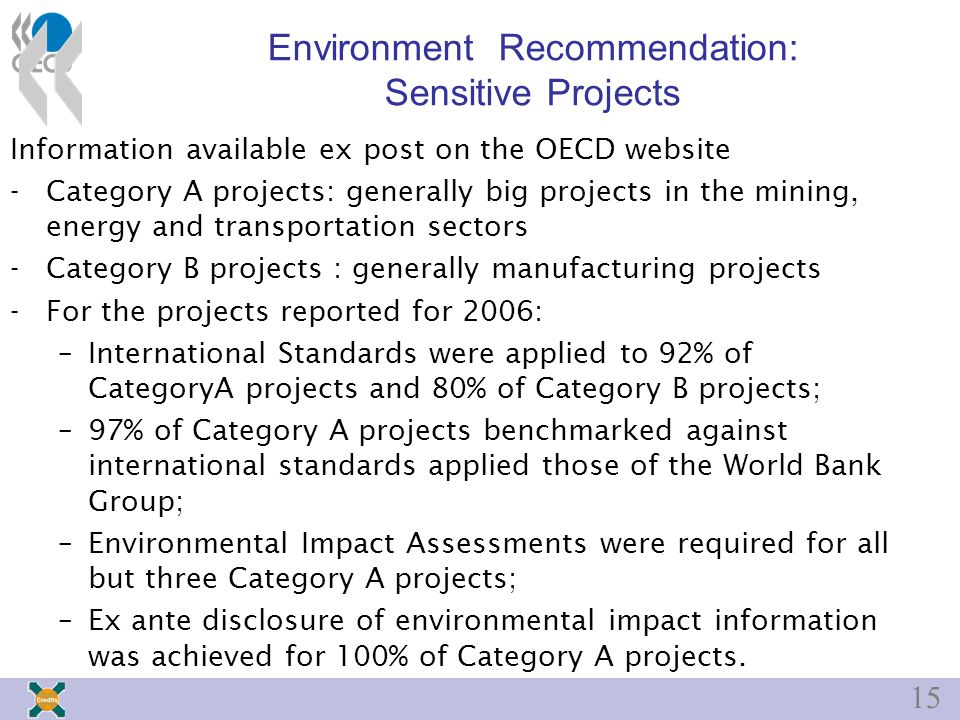15 Environment Recommendation: Sensitive Projects Information available ex post on the OECD website -Category A projects: generally big projects in the mining, energy and transportation sectors -Category B projects : generally manufacturing projects -For the projects reported for 2006: –International Standards were applied to 92% of CategoryA projects and 80% of Category B projects; –97% of Category A projects benchmarked against international standards applied those of the World Bank Group; –Environmental Impact Assessments were required for all but three Category A projects; –Ex ante disclosure of environmental impact information was achieved for 100% of Category A projects.