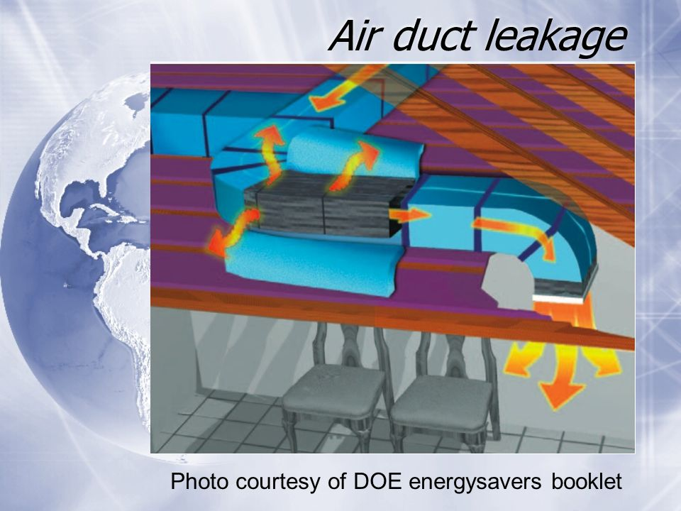 Air duct leakage Photo courtesy of DOE energysavers booklet