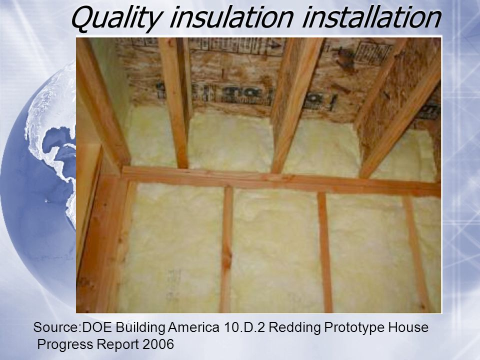 Quality insulation installation Source:DOE Building America 10.D.2 Redding Prototype House Progress Report 2006