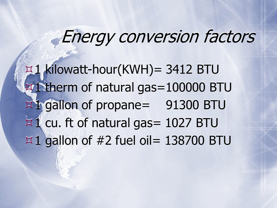 Energy conversion factors  1 kilowatt-hour(KWH)= 3412 BTU  1 therm of natural gas= BTU  1 gallon of propane= BTU  1 cu.