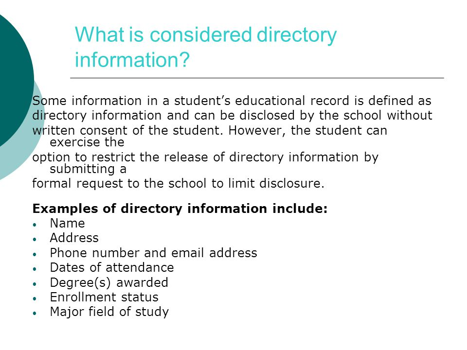 What is considered directory information.