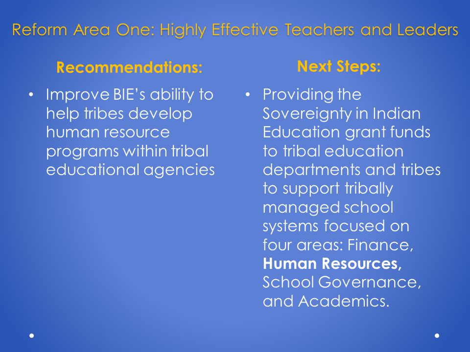 Recommendations: Next Steps: Improve BIE's ability to help tribes develop human resource programs within tribal educational agencies Providing the Sovereignty in Indian Education grant funds to tribal education departments and tribes to support tribally managed school systems focused on four areas: Finance, Human Resources, School Governance, and Academics.