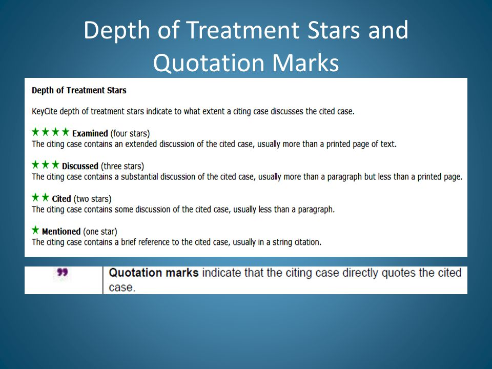 Depth of Treatment Stars and Quotation Marks