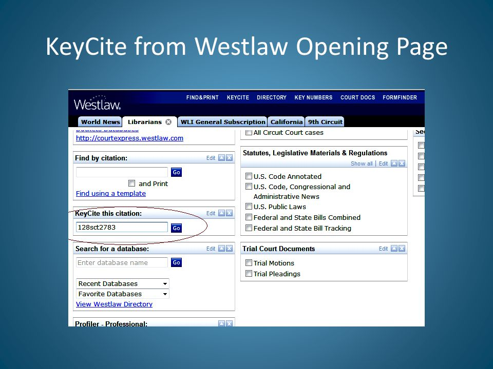 KeyCite from Westlaw Opening Page