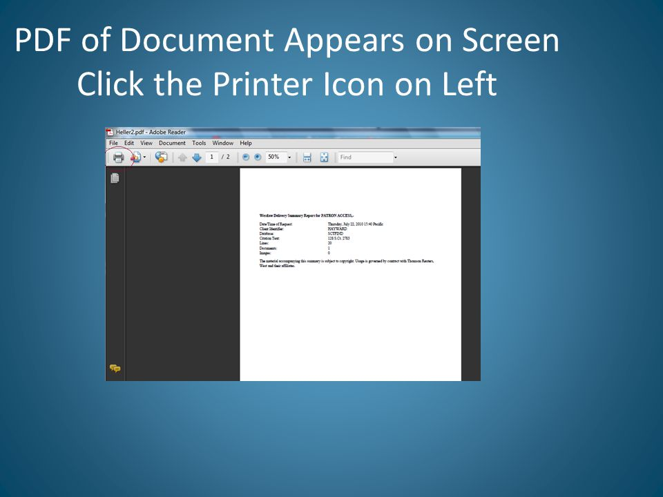PDF of Document Appears on Screen Click the Printer Icon on Left