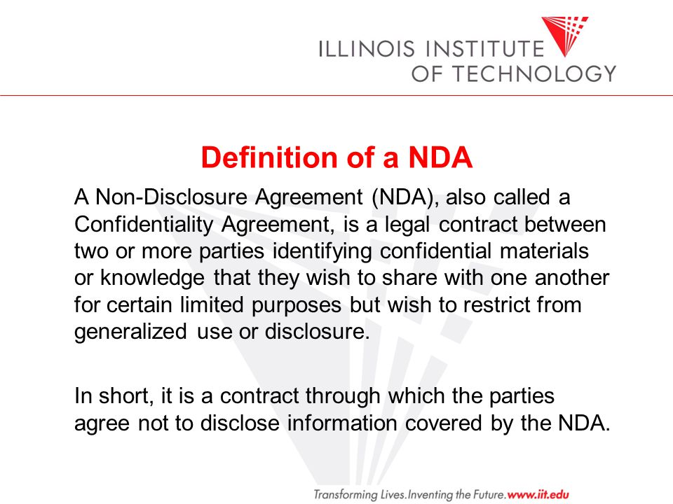 Iit Office Of General Counsel Education Program Non Disclosure