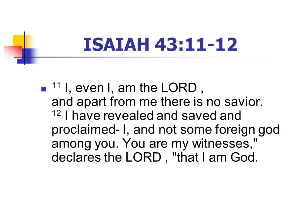 ISAIAH 43: I, even I, am the LORD, and apart from me there is no savior.