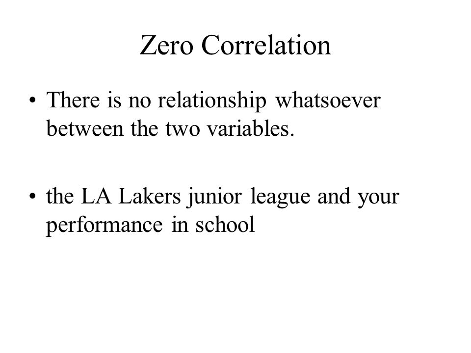 Zero Correlation There is no relationship whatsoever between the two variables.