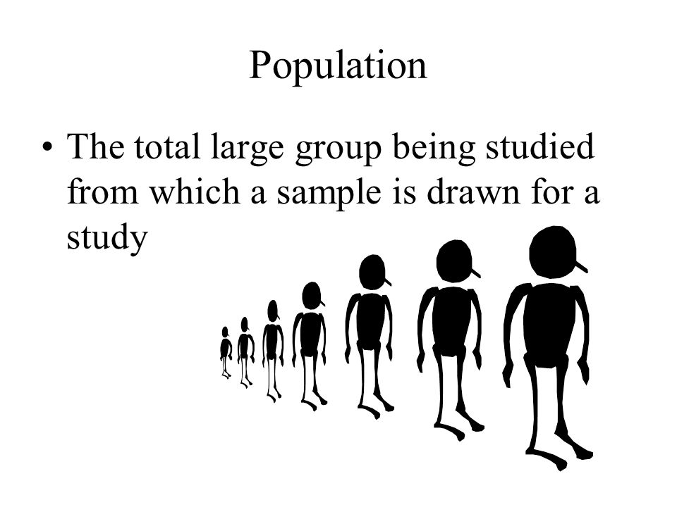 Population The total large group being studied from which a sample is drawn for a study