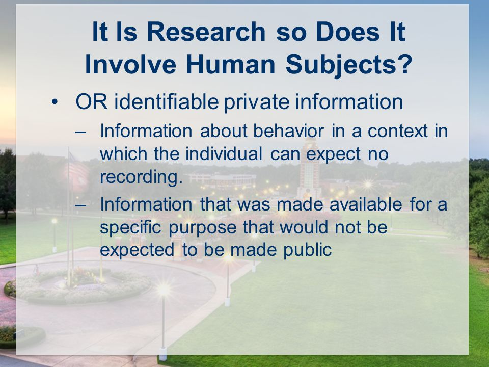 It Is Research so Does It Involve Human Subjects.